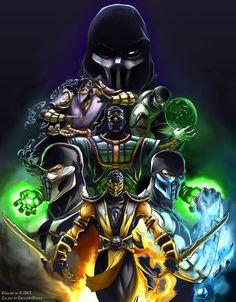MK Ninjas Color Version - Line Art by DJOK3 by CrescentDebris on DeviantArt