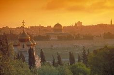 View from Mount of Olives, with Russian church and Dome of the Rock in the disnance, Israel Photo