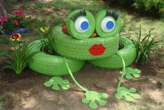 June 4, 2014 - Frieda La Frog, made of tires, inner tube, plastic bowls, garden hose, and pieces of a recycled rubber door mat.