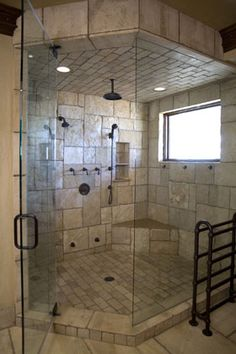 Lovely shower... double shower heads is a must in my future dream home!