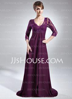 Mother of the Bride Dresses - $152.99 - Empire V-neck Sweep Train Chiffon Charmeuse Lace Mother of the Bride Dress With Beading (008006147) http://jjshouse.com/Empire-V-Neck-Sweep-Train-Chiffon-Charmeuse-Lace-Mother-Of-The-Bride-Dress-With-Beading-008006147-g6147