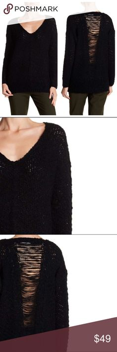 "Astr Slash Back Oversized Black Sweater New With Tags- oversized black sweater with v-neck, long dolman sleeves, sheer shredded back detail and popcorn boucle knit construction. 60% Acrylic, 40% Polyester.                                                               SMALL: Bust 44"", Length 25"".                                          MEDIUM: Bust 48"", Length 26.5"". Astr Sweaters V-Necks"
