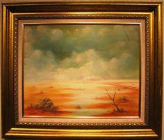 Jack Absalom original Australian oil titled Homestead in the wet . Homesteading, Australia, Hand Written, The Originals, Canvas, Kangaroo, Label, Painting, Oil