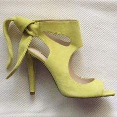 """Zara Leather Tie Back Heels Incredible Zara heel sold out in stores. Beautiful yellow, lime, citrus color in suede. Very comfortable and easy to put on. Knots/ties in the back for secure hold while wearing. Just stunning. All the blogger rage from what I can tell. ;) 4"""" heel. Dust bag incl. Zara Shoes Heels"""