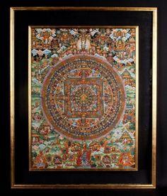 Tibet 20.Jh. Malerei Thang-ka Tibetan Mandala Thangka Tibétain Pittura Tibetana
