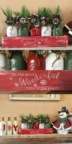 Ring in this holiday season with a gorgeous mason jar christmas centerpiece! This rustic box is packed full with christmas character! Everything in the picture is included in the price. Mason jar christmas centerpiece, Rustic mason jar christmas centerpiece, christmas centerpiece, christmas decorations, merry christmas, xmas #ad #affiliate
