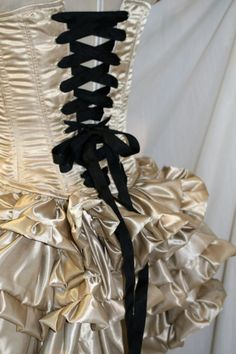 Champagne satiny burlesque bustle mini ruffle skirt  by miala