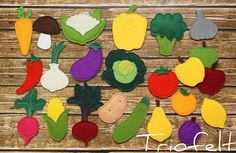 Felt vegetables and fruits. Felt toys are a good choice for a safe play. It gives multiple possibilities for different games like: • cooking, • gardening, • color naming and matching, • learning fruits and vegetables, • shop and sell • feeding toys You can buy each piece separately or a play set. If you want a custom order or items that are not listed, please contact me. Price is for 1 piece If you choose a set of felt fruits and vegetables, please specify which one do you want.  Size All…