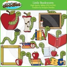 Little Book Worm Clip Art by ScrappinDoodles on Etsy
