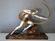 D.H. Chiparus bronze statue of Diane. Silvered and gilded.