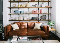 beautiful wall-mounted shelves! if replicated, would consider painting the vertical boards