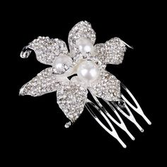 "NEW - Flower Rhinestone & Pearl Small Hair Comb - ""Leila"" | eBay"