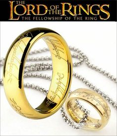 """Lord of The Rings """"The One Ring"""" Bilbo's Hobbit Ring Gold Plated Gift Chain Fellowship Of The Ring, Lord Of The Rings, Rings For Men, Gold Plated Rings, Stainless Steel Necklace, One Ring, Black Rings, Jewelry Design, Designer Jewelry"""