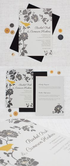 Grey and Mustard Yellow Wedding Invitations - Be My Guest