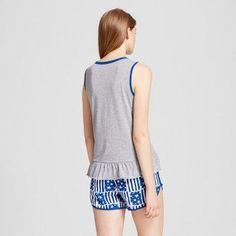 Women's Pajamas Tank/Boxer Set - Heather Gray/White XL, Multicolored