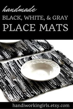 A classy blend of black, white, and gray, our knitted place mats are perfect for year-round use: https://www.etsy.com/listing/191904063/placemats-black-gray-white-cream-ivory