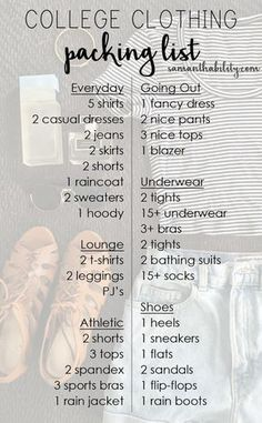 College Clothing Packing List! This complete guide gives you a list of clothing items you need at college to complete your dorm wardrobe!