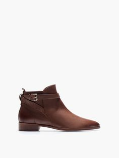 LEATHER STRAP FLAT ANKLE BOOT-massimo dutti.