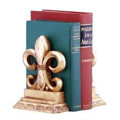 Hickory Manor House Fleur De Lis Bookends - Antique Gold