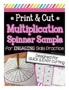 MULTIPLICATIONTake a break from boring multiplication fact practice!  Multiplication spinners provide a super low prep, super engaging way for kids to practice their math facts.  Included in this freebie: 4 multiplication fact spinners Recording sheet Tips for implementationSpinners require no assembly...just use a pencil and paper clip!