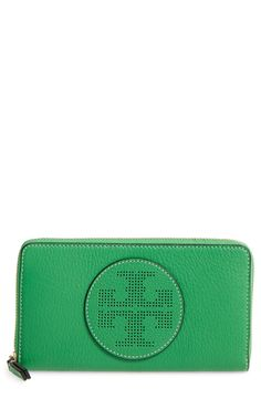 New Tory Burch Perforated Logo Zip Continental Wallet fashion online. [$130.65]?@shop.seehandbags<<