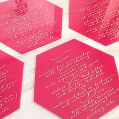 Acrylic Calligraphy Menus | by The Lettering Studio, Toronto