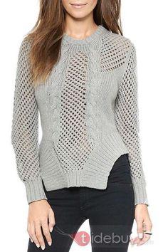 灰色のメッシュロングスリーブリブセーター