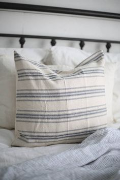 Farmhouse Style Grain Sack Pillow Cover Blue 4 Stripe