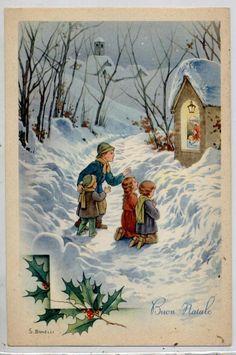 BONELLI Bambini Pregano nella Neve Natale Xmas Child PC Circa 1940