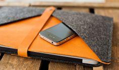 MacBook Sleeve Rough Edge  leather wool felt universal by TheNavis, €60.00