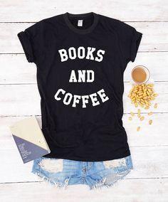 Books and coffee shirt book shirt geek shirt nerd shirt  funny