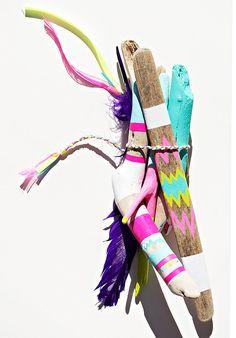 Driftwood Art 6 Piece Painted Sticks Neon von bonjourfrenchie