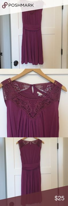 Boden Purple Dress with Lace Detail Pretty purple Boden dress with pretty lace detail at the top. Only worn once. Boden Dresses Midi