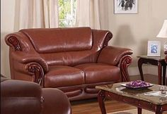 Brown leather with wood LoveSeat 7981-153
