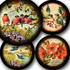 To create this digital collage sheet Ive combined high quality scans of flowers and birds from dozens of different Victorian-era postcards, handwriting from the 1700s, and images from a Parisian 1850s book I own that has the most amazing engravings. Ive added a lovely dark frame around each for a vintage, photographic feel. Ive designed these circles so that they work well with 2, 2.25 or 2.5 inch circle punches or with a nice margin for pocket mirrors, since the image is centered and the…