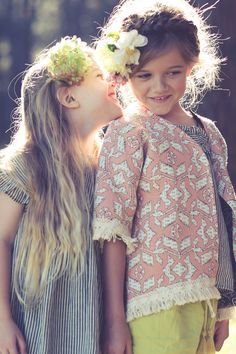 The girls having fun wearing Louis Louise and Louise Misha. Collaboration with Little Village Handmade.