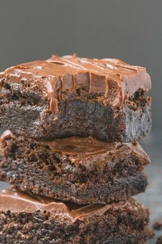 Healthy Flourless Chocolate Fudge Brownies- Just THREE ingredients in the base and a healthy fudge frosting- Absolutely NO butter, oil, flour or sugar! vegan, gluten free, paleo recipe- thebigmansworld.com