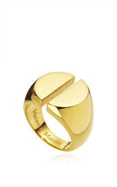 Chevaliere Split Ring In Yellow Gold by Maison Martin Margiela for Preorder on Moda Operandi