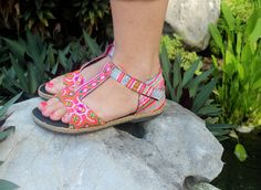 Pink T Strap Vegan Womens Sandals In  Ethnic Hmong Embroidery And Washed Batik