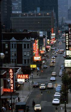 Rush Street at Night, Chicago, August 1973