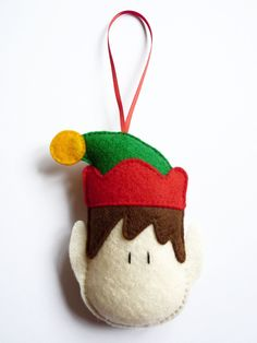 Felt Elf Christmas Tree Decoration / Ornament / Holiday Decoration / Gift Ideas for Children - Green, Yellow and Red. £6.00, via Etsy.
