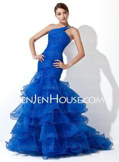 A-Line/Princess Um Ombro- Trem da varredura Organza  Cetim Prom Dresses com Preguear  Beading (018005077)