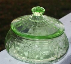 *RARE Flat Candy Dish Covered Green Depression Glass Cameo Ballerina with Lid