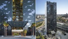   The northern glass facades are screen printed to evoke a jungle.
