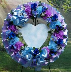 Cemetery Wreath CUSTOMIZE Blue and Purple Sympathy Wreath Mesh Ribbon Wreaths, Floral Wreaths, Flower Colouring In, Sympathy Flowers, Order Flowers, Wreath Crafts, Casket, Carnations, Colorful Flowers