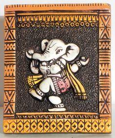 Dancing Ganesha on a Plaque - Wall Hanging (Terracotta) Clay Wall Art, Mural Wall Art, Mural Painting, Clay Art, Murals, Clay Ganesha, Ganesha Art, Lord Ganesha, Ganesha Drawing