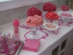 "Pink food for girl baby shower or ""Pink Party"".  Pink Wafers!"
