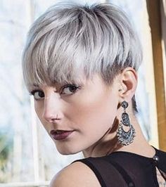 nice cut-who's her barber? Short Grey Haircuts, Girl Haircuts, Short Hair Cuts, Short Hair Styles, Pixie Hairstyles, Hairstyles With Bangs, Pixie Bob, Grey Hair Styles For Women, Silver White Hair