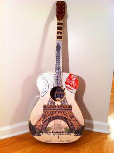 Paris France Acoustic Wall Guitar Eiffel Tower & by EmmasGuitars