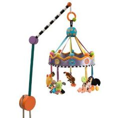 I love this mobile (better price on Amazon than on Giggle.com) but it doesn't turn or play music, which I think my son would prefer.